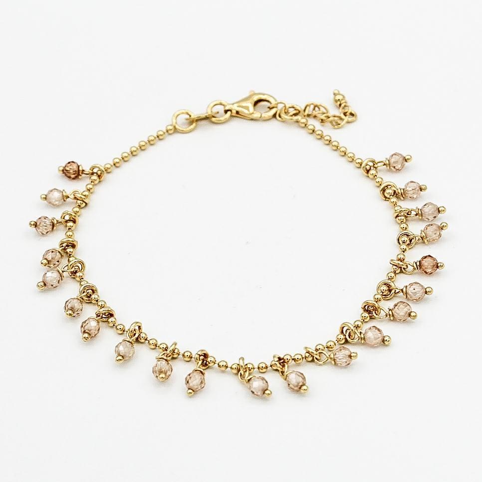 Image of Armband Caroline Zirkonia Champagner Gold