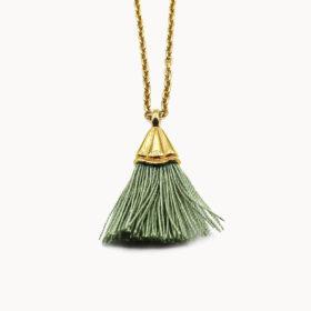 Halskette Amande Grün Gold