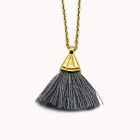 Halskette Amande Dunkelgrau Gold