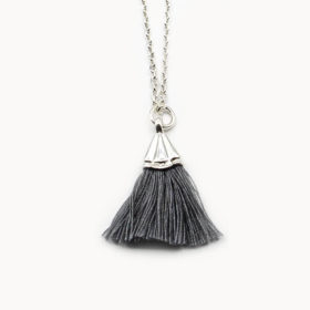 Halskette Amande Dunkelgrau Silber
