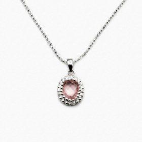 Halskette Puanani Rosenquarz Silber