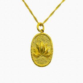 Halskette Medaillon Lotus Gold