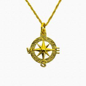 Halskette Medaillon Kompass Gold