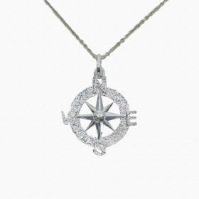 Halskette Medaillon Kompass Silber