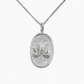 Halskette Medaillon Lotus Silber