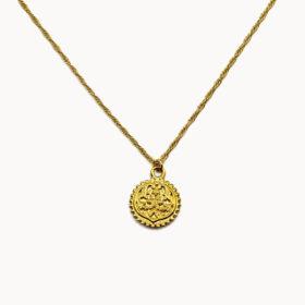 Halskette Medaillon Blume Gold