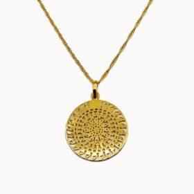 Halskette Medaillon Mandala Gold